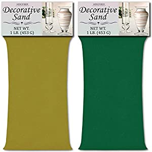 HeroFiber Colored Unity Sand (2 lbs.) - Lime Yellow and Emerald Green - 1 lb. per Color - Decorative Art Sand for Weddings, Vase Filling, Kids' Craft Play