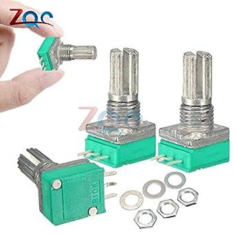 6PCS 6mm 3 pin Knurled Shaft Single Linear B Type B10K ohm Rotary Potentiometer