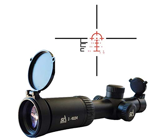 S2Delta 1-4X24 Carbine Scope, Red Dot Scope, Illuminated 5.56 BDC Reticle, 30mm Main Tube, SFP, Capped Turrets (Best Target Rifle Scope)