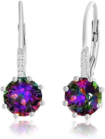 Sterling Silver Gemstone Cubic Zirconia Drop Leverback Earrings & Pendant