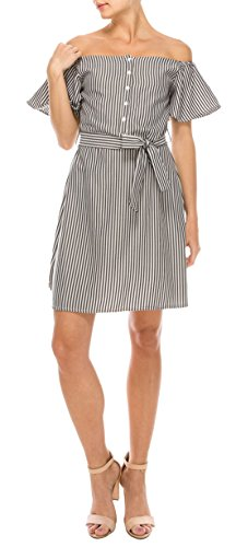 Daisy Del Sol Women's 100% Cotton Striped Off The Shoulder Flutter Sleeve Button Down Spring Dress (Grey, Small) ()