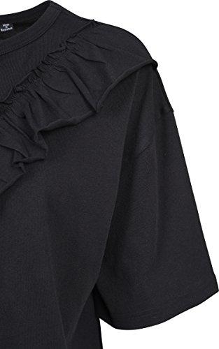00007 Nero Oversize Donna Shirt Black Volant T Ladies Short Tee Classics Urban HxPRqzq