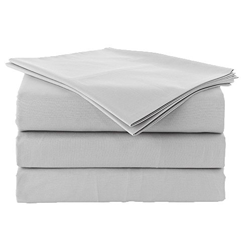 600 ThreadCount Single Ply Long Staple EgyptianCotton Sheet Set,King 4 PCs Set, Extra Deep Pocket Fit up to 16 Inch Deep,Soft& Smooth Luxury Sateen Weave Solid Sheet Set For Home (Light Grey, King)