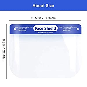 [FDA APPROVED] Plastic Face Shield, Protect Eyes and Face, Full Protective Clear Film, Elastic Band and Comfort Sponge, Dental Face Shield for Men Women [EXPEDITED SHIPPING] – 100 PCS