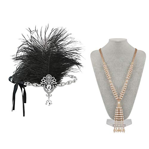 31 Perfect Party Set (Metme 1920s Accessories Headband Necklace Jewelry Sets Perfect for Prom Party Flapper Great Gatsby)