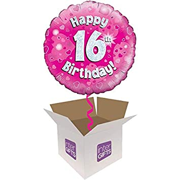 Image Unavailable Not Available For Colour InterBalloon Helium Inflated Happy 16th Birthday Pink Balloon Delivered