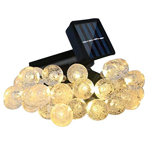 AicLuze Solar Globe String Lights, 20 Ft 30 Crystal Balls Waterproof LED Fairy Lights, 8 Modes Outdoor Starry Lights Solar Powered String Lights Home, Garden, Yard Party Wedding