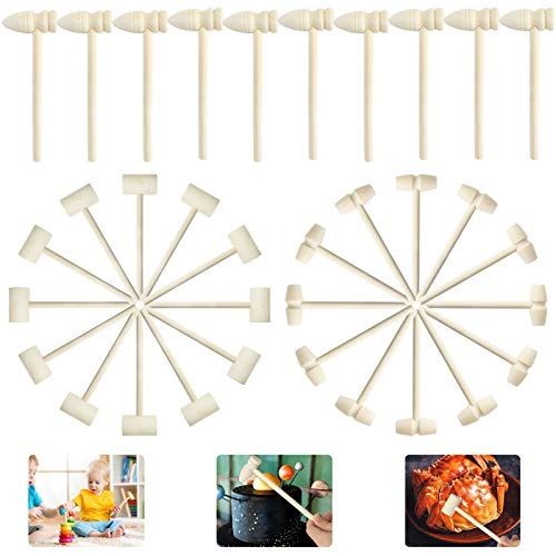 KY-YPFW 30 PCS Mini Wooden Mallet Hammers Tool - Craft DIY Solid Wooden Pounding Beating Building Blocks Gavel Educational Toys for Boys Girls Kids Children,Breakable Chocolate Heart