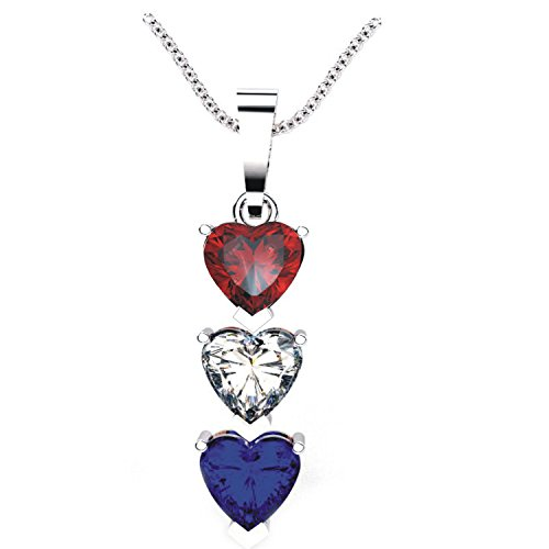 Solid Sterling Silver Three Stone 2.25 CTW Lab-Grown Ruby, White, Blue Heart Shaped Gemstone Pendant Necklace with 17.5 inch Anchor Chain ()