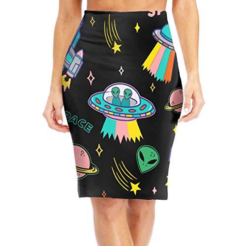 Womens High Waist Bodycon Midi Pencil Skirt UFO Aliens Spaceship Fit Slim Skirt