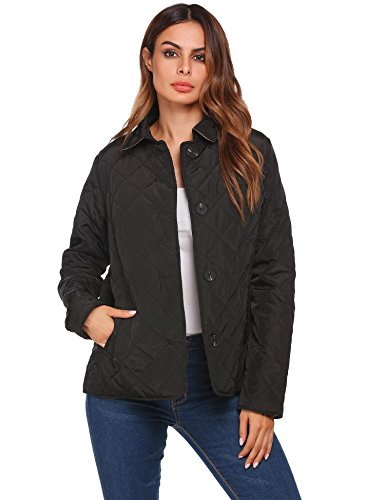 Soteer Women's Diamond Quilted Jacket Stand Collar Button End With Pocket Coat Black M Collar Quilted Coat