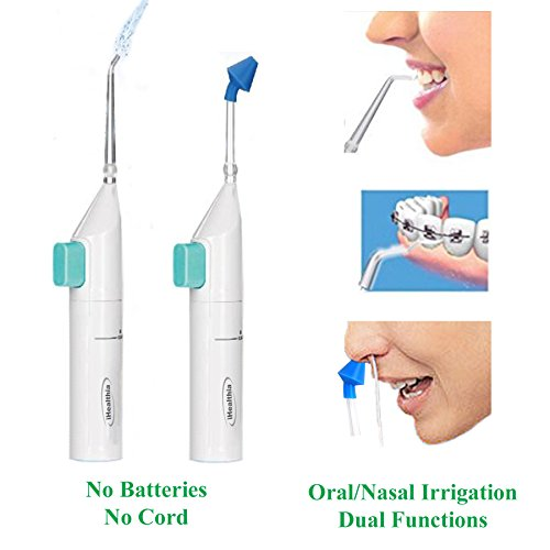 iHealthia Portable Water Flosser Manual Oral Irrigator With Nasal Wash Function