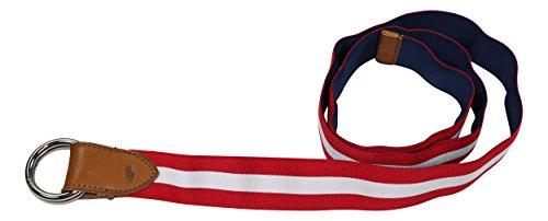Ralph Lauren Reversible Belt - Polo Ralph Lauren Men's Reversible Leather Accented Fabric Belt (Red White/Navy, Medium)