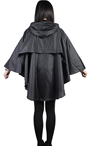 QZUnique Women's Waterproof Packable Rain Jacket Batwing-sleeved Poncho Raincoat Black