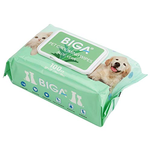 Deodorizing Hypoallergenic Pet Wipes with Fragrance Free Natural Organic and Antibacterial for Cleaning Face Butt Eyes Ears Paws Teeth 100ct per Pack (Aloe Vera 1 Pack) (Fragrance Grooming Wipes)