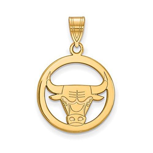 LogoArt NBA 14k Yellow Gold Plated Sterling Silver Chicago Bulls Small Disc Pendant by LogoArt