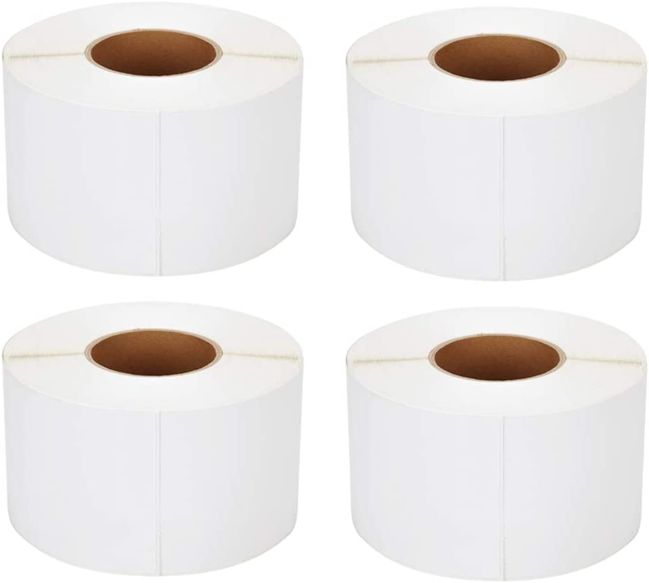 [4 Rolls, 4000 Labels] 4'' x 6'' Direct Thermal Labels, 3'' Core, Perforations Between Labels, Compatible with Zebra Printers