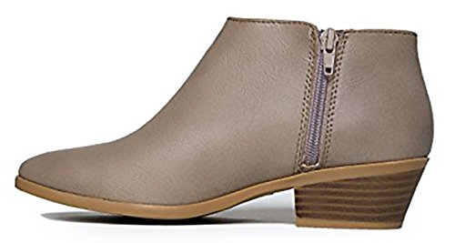 Heel Us 85 Bootie Toe Women's Ankle Faux Stacked Round Grey Clay Suede Pl M Western Soda wgYOfq
