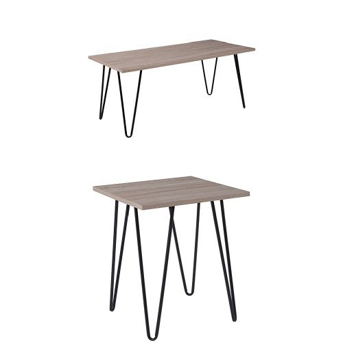 3 Piece Oak Cocktail Table - Flash Furniture Oak Park Collection 3 Piece Coffee and End Table Set in Driftwood Wood Grain Finish and Black Metal Legs