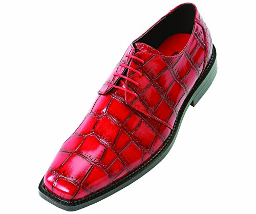 Bolano Mens Wide Width Red Exotic Faux Large Croco Print Embossed Oxford Dress Shoe: Style Saco-ww-Wide Width Red-005
