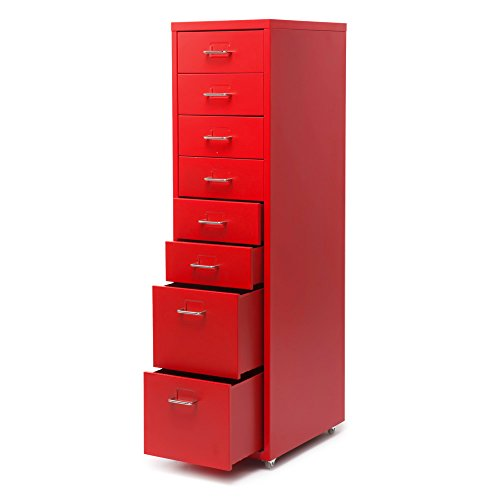IKAYAA Office Tall Metal File Cabinet 8 Drawers Detachable Mobile Steel Storage Cabinet with 4 Casters Office, Bedroom, Living Room Furniture