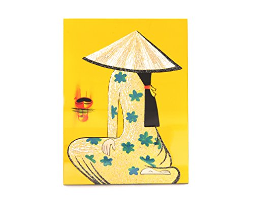 Yellow Vietnamese Handmade Lacquer Painting With Eggshell ()