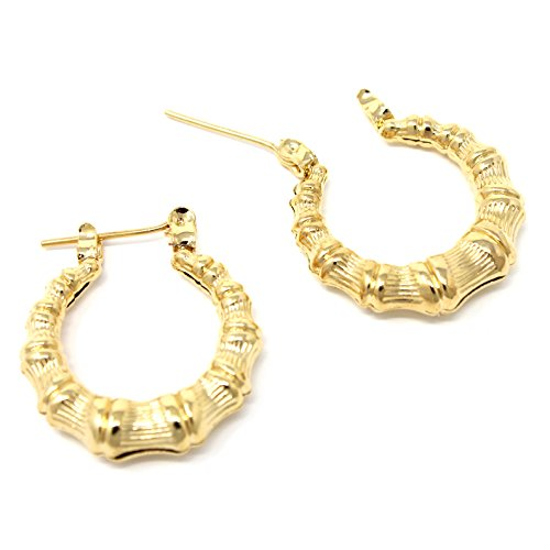 - Round Hollow Casting Bamboo Hoop Pincatch Earrings (20 mm, Gold Color)