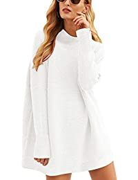 Women Casual Turtleneck Batwing Sleeve Slouchy Oversized Ribbed Knit Tunic Sweaters