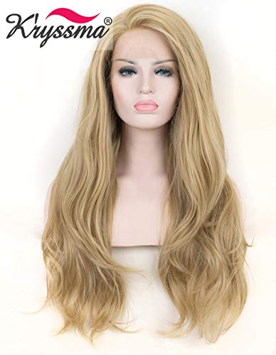K'ryssma Natural Looking Ash Blonde Glueless Lace Front Wig Long Wavy Half Hand Tied Replacement Synthetic Hair Full Wigs Heat Resistant For Women 22 - Wigs Front Lace Half