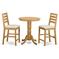 East West Furniture EDCF3-OAK-C 3 Piece Kitchen Dinette Table and 2 Counter Height Stool Set