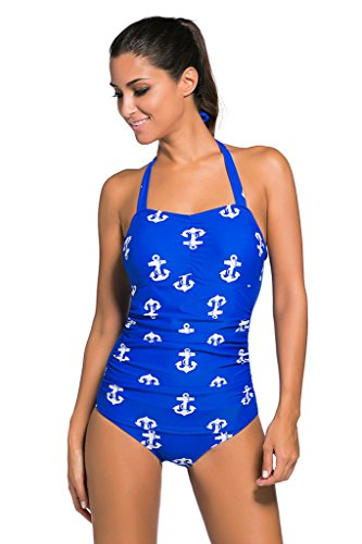 Aleumdr Women's Vintage Tankini One Piece Swimsuit Blue Printings Medium
