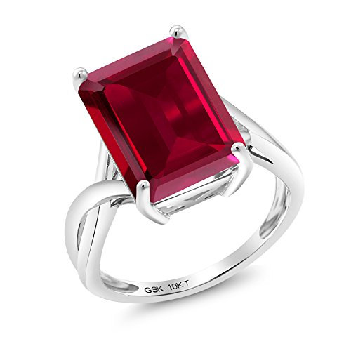 8.00 Ct Emerald Cut Red Created Ruby 10K White Gold Ring (Size ()