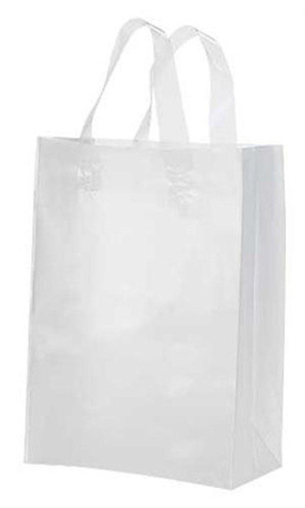 250 Clear Medium Frosted Plastic Shopping Bags - 8 Inch X 5 Inch X 10 Inch (Cub)