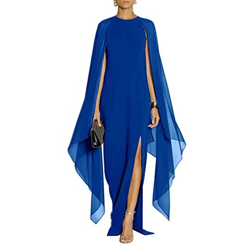 SEBOWEL Women's Elegant High Split Flared Sleeve Long Formal Evening Gown Dress with Cape Blue XL ()
