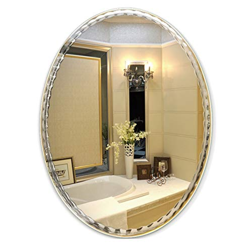 Wc Vanity Standing Floor (DONGYUER Makeup Mirror Car Engraving lace Bathroom Mirror Frameless Oval Toilet Dressing Mirror WC Mirror Three Specification Select,6080cm)