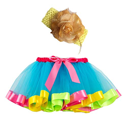 Sunhusing Adorable Girls Rainbow Tutu Skirt + Hair Strap Two-Piece Suit Toddler Party Dance Ballet Costume Skirt -