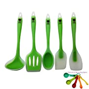 Amazon Lightning Deal 80% claimed: Silicone Cooking Utensils set of 5 piece, Includes Spatula, Serving Spoon, Scraper, Slotted Turner, Soup Ladle with free set of Measuring Spoons from Akitchen