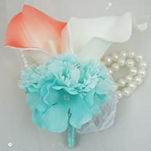 Lily Garden Real Touch Calla Lily Coral and White and Carnation Turquoise Flowers Wedding Bouquet (Wrist Corsage)