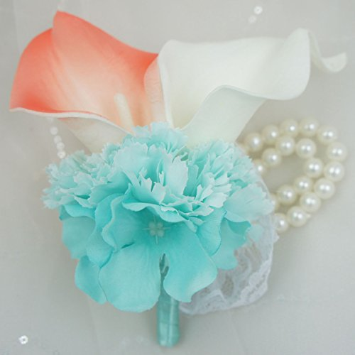 Lily Garden Wrist Corsage Double Real Touch Calla Lily with Silk Hydrangea and Carnation (Coral and White)