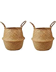 Natural Seagrass Belly Basket, Open Storage Basket, Laundry Basket, Picnic and Straw Beach Bag--Basket Planter