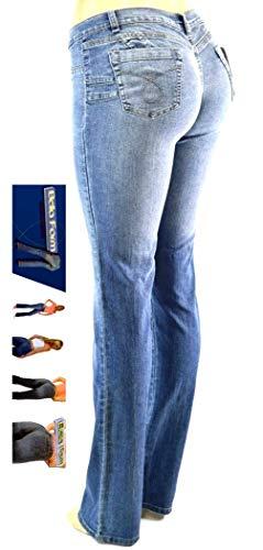 Jack-D Womens Juniors Luscious Curvy Basic Bootcut/Straight Denim Jeans Stretch (7, Bella Form Blue Butt Lifting)