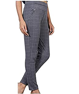Respect Women Check Pants (Jegging Style) Formals/Casual Stretchable - 26-32 Inch Waist (Grey)