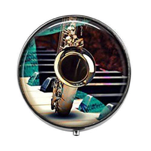 Saxophone Blues Music - Orchestra Player Art Photo Pill Box - Charm Pill Box - Glass Candy Box ()