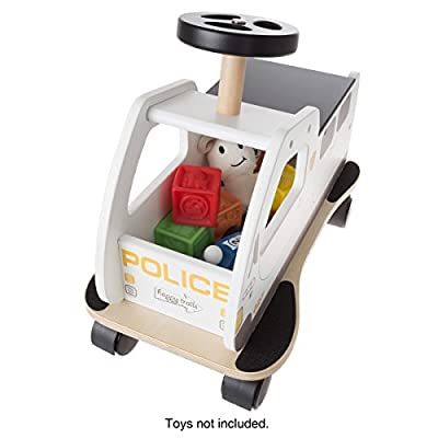 Happy Trails Ride On Police Car Toy Box with Steering Wheel, Sturdy Seat and All Direction Wheels- Cop Truck with Storage for Toddlers: Toys & Games