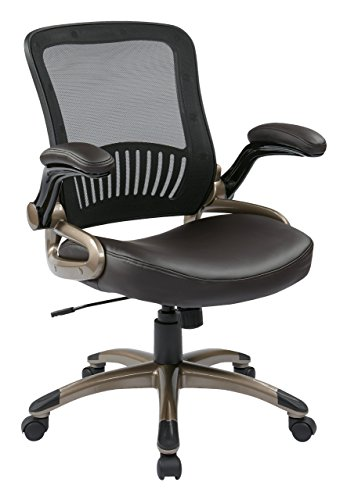 Office Star Screen Back and Eco Leather Seat Managers Chair, Espresso