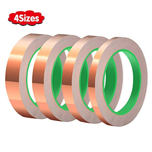 4 Sizes Copper Foil Tape,Double-Sided Conductive Copper Tape for EMI Shielding,Slug Repellent,Paper Circuits,Electrical Repairs,Grounding(5mm,6mm,8mm,10mm) X 21.9yards ()
