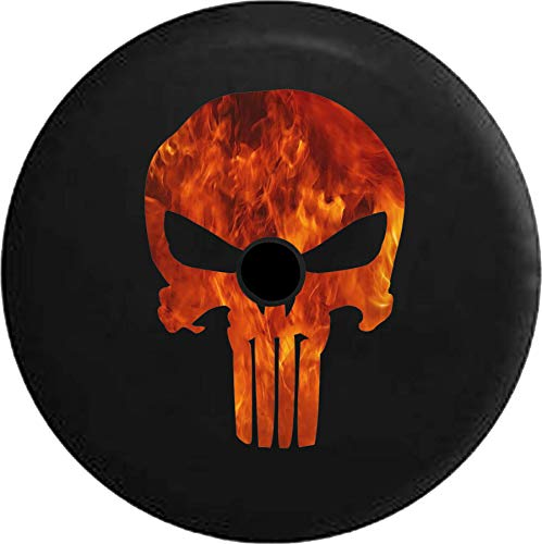 JL Series Jeep Spare Tire Cover with Backup Camera Hole American Patriot Punisher Skull Fire Flames Black 33 ()