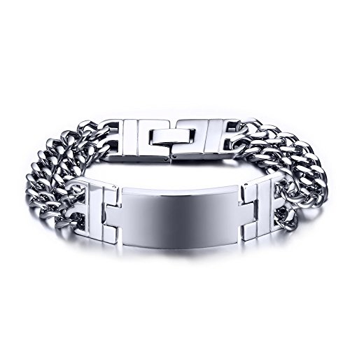 XUANPAI Free-Engraving Men's Stainless Steel Chunky Double Cuban Chain Link ID Bracelet,Personalized Gift (Cuban Bracelet Link Double)