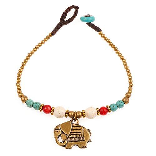 Chuvora Brass and Genuine Howlite Turquoise Gemstone Asian Elephant Beaded Bracelet