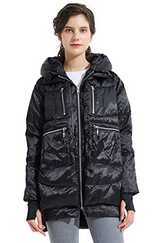 Orolay Women's Thickened Down Jacket Hooded Jet L